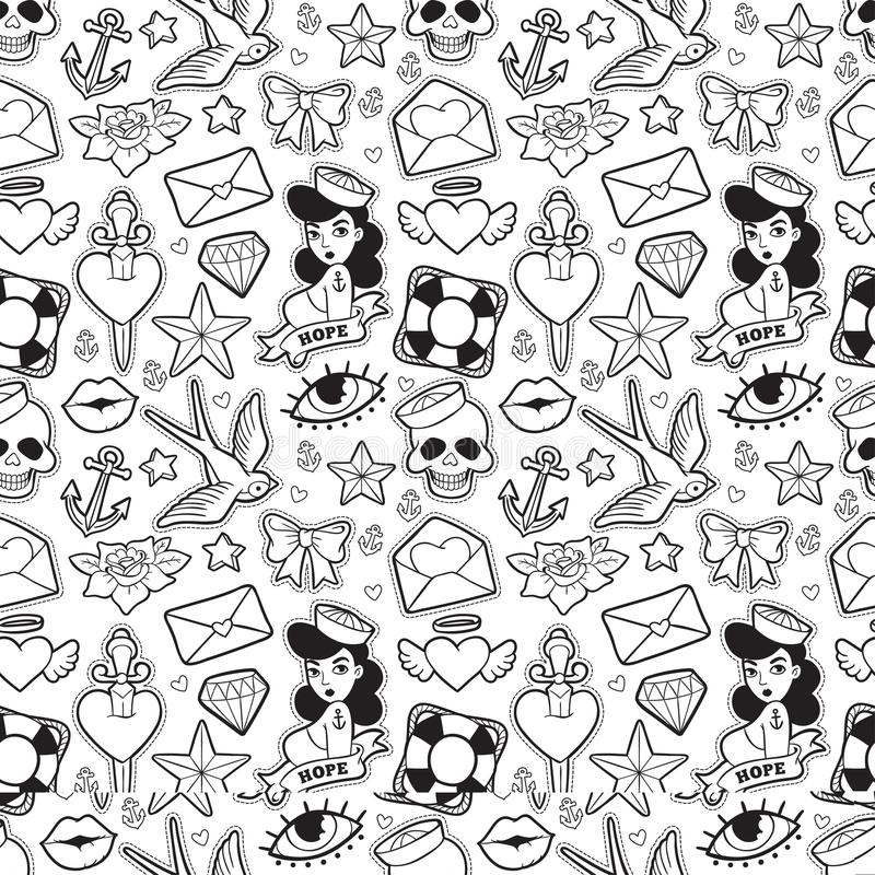 Old school seamless pattern in rockabilly style. Old school seamless pattern with heart, skull, sparrow, dagger and other elements. Vector background with stock illustration