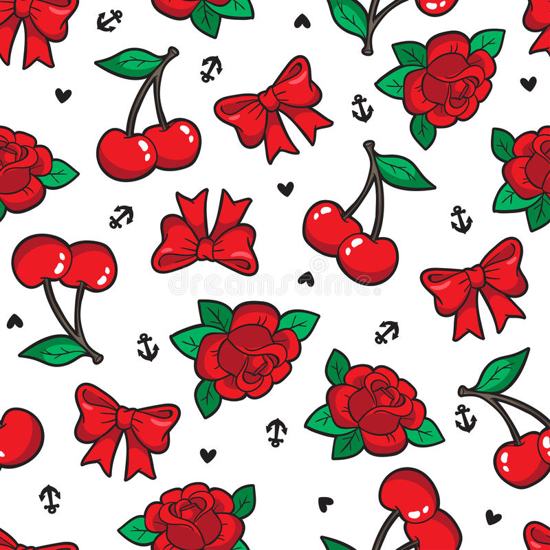 Old school seamless pattern in rockabilly style. Old school seamless pattern with rose, cherry, bow and other elements. Vector background with fashion patches stock illustration
