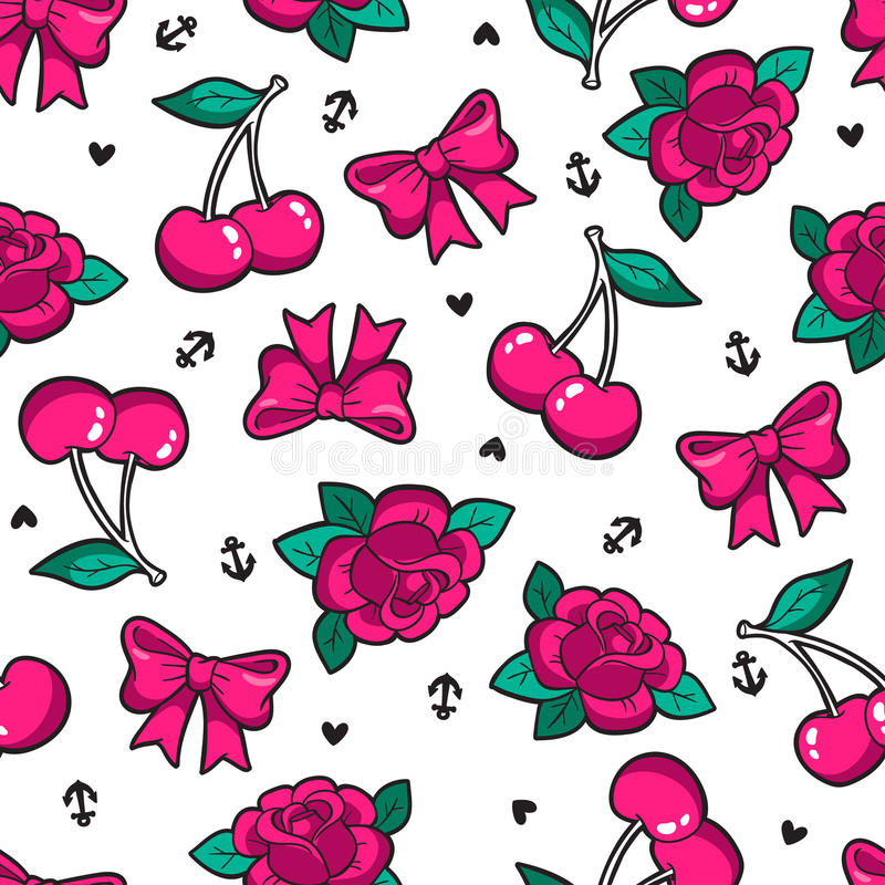 Old school seamless pattern in rockabilly style. Old school seamless pattern with rose, cherry, bow and other elements. Vector background with fashion patches vector illustration