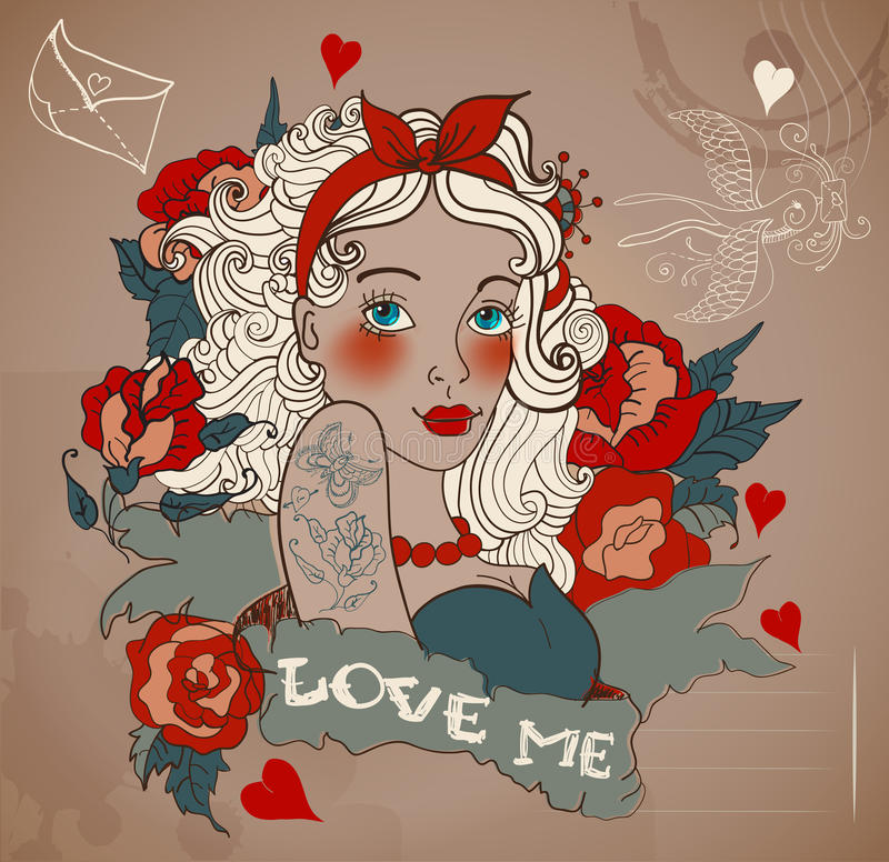 Old-school styled tattoo woman with flowers vector illustration
