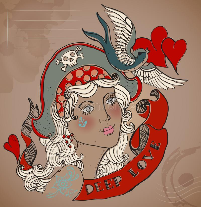 Old-school styled tattoo woman, Valentine illustration stock illustration