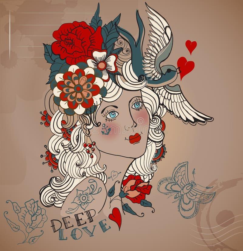 Old-school styled tattoo woman, Valentine illustration. Old-school styled tattoo woman with flowers, Vintage Valentine illustration vector illustration