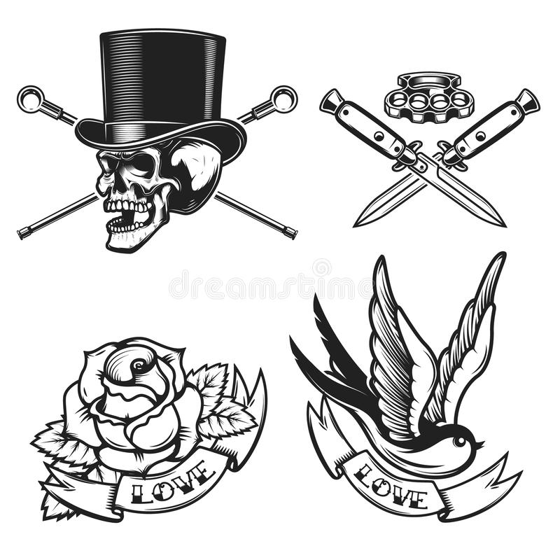 Old school tattoo emblems. Swallow bird, skull in hat, rose flower, crossed knives. Design element for emblem, sign, label, poster stock illustration