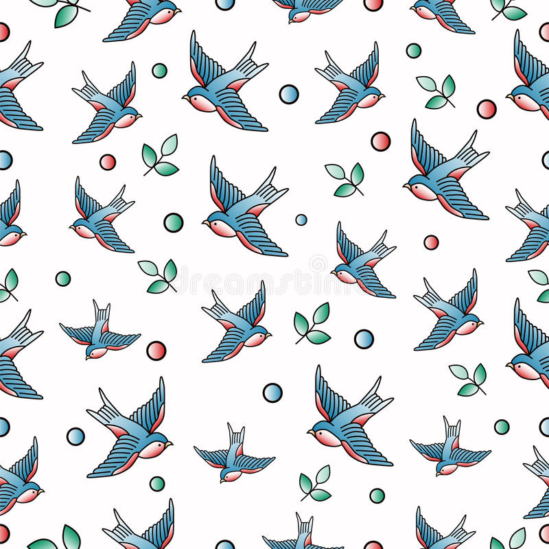 Old school tattoo seamless pattern with swallows. Vector vector illustration