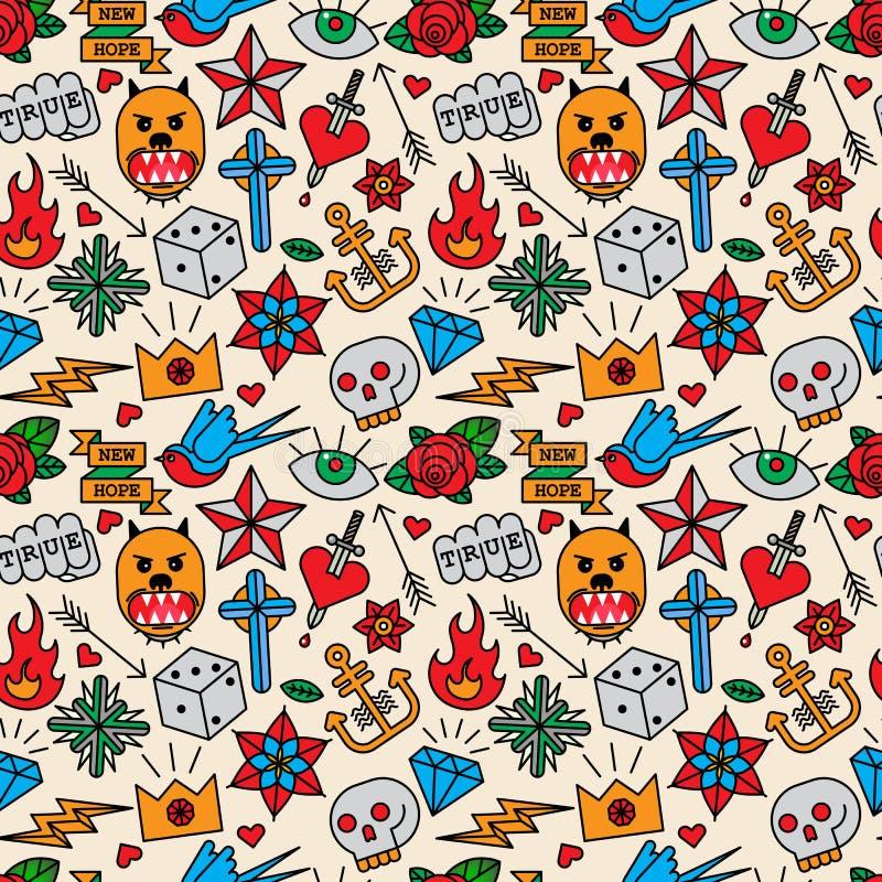 Old school tattoo seamless pattern stock illustration