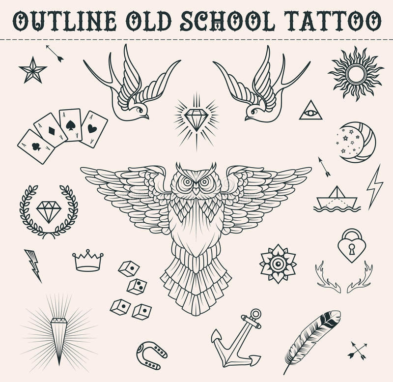 Old school tattoo set. Cartoon tattoo elements in funny style:anchor, owl, star, heart, diamonds, scull, swallow. Outline s. Old school tattoo set. Cartoon royalty free illustration