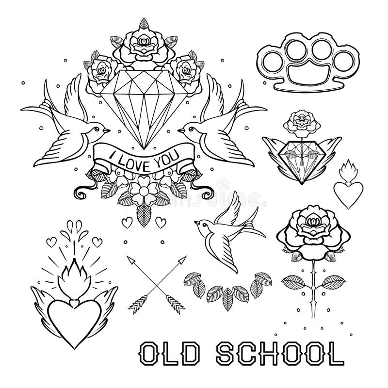 Old school tattoo set. Classic vector tattoo doodle elements: fl. Ower, sacred heart, diamond, swallow, brass knuckles. Traditional Tattooing Style Drawing stock illustration