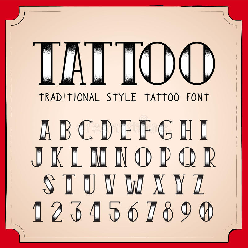 Old School Tattoo style font. Vector Traditional Ink Tattoo Alphabet stock illustration