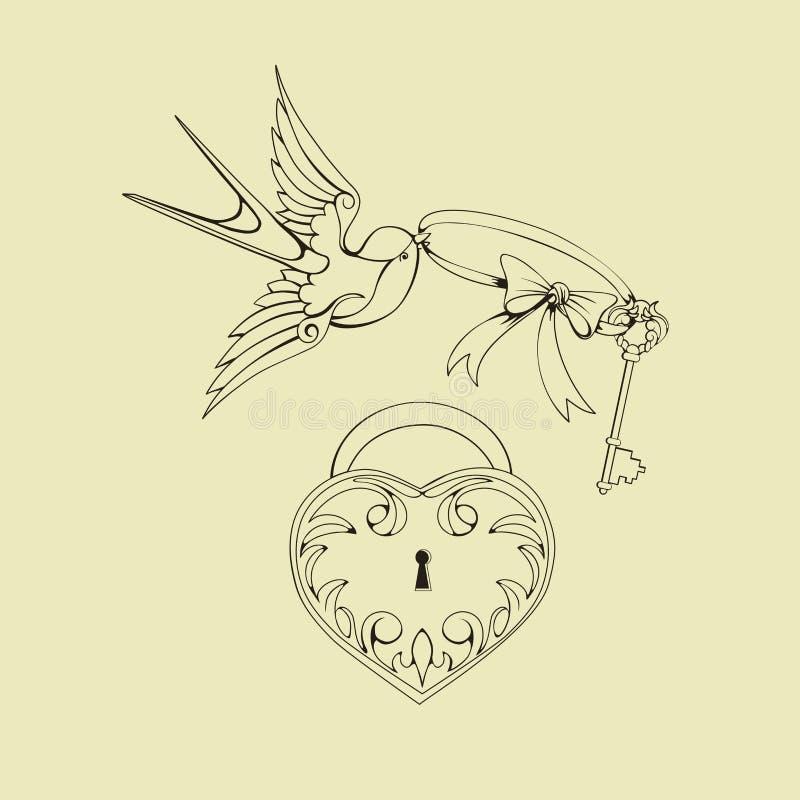 Old school tattoo symbols. Design Old School Tattoo elements. Ink, inking symbols stock illustration