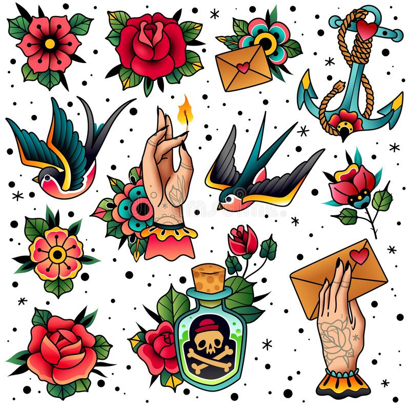 Free Old School Traditional Tattoo Set Royalty Free Stock Image - 171867676