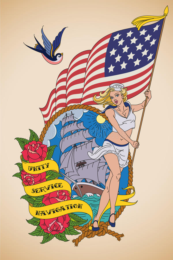 Old-school US Navy tattoo royalty free illustration