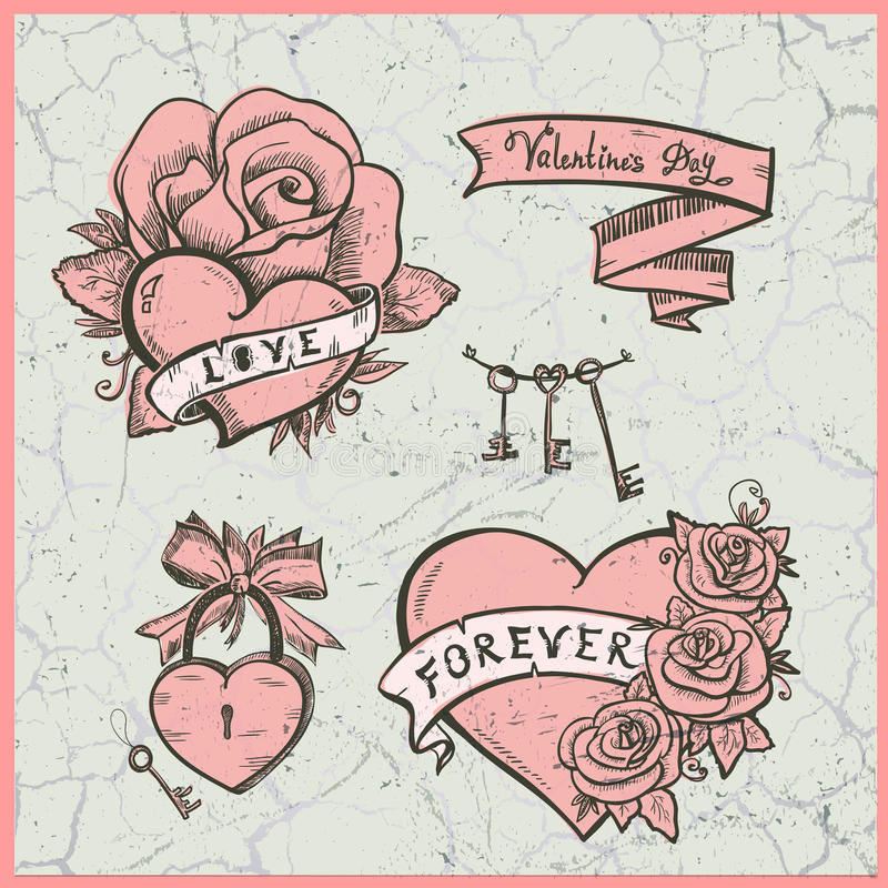 Old school vector graphic set with hearts, roses and ribbons. stock illustration