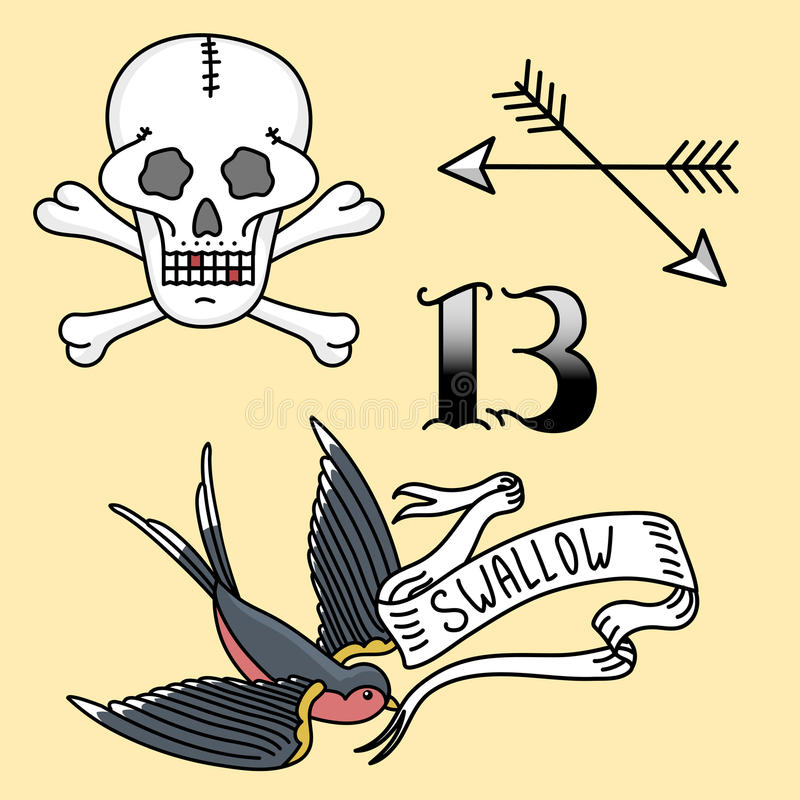 Old school vintage retro tattoo ink art style hand drawn tattooing symbol traditional graphic drawing vector vector illustration