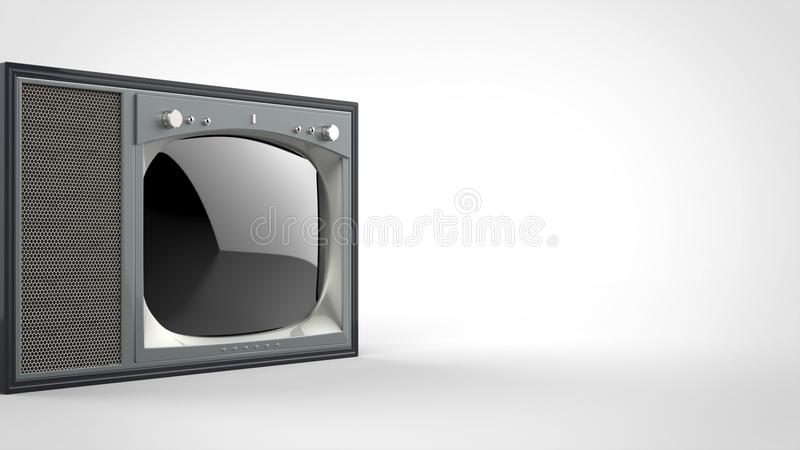 Old school vintage TV set - cut shot. On gray background royalty free illustration