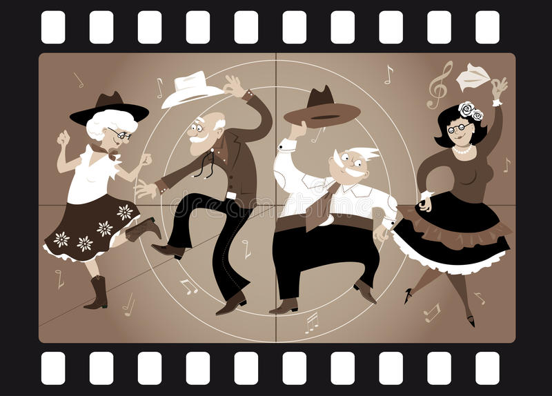 Old school western. Senior people dressed in traditional western costumes dancing square dance or contradance in an old movie frame, EPS 8 vector illustration stock illustration