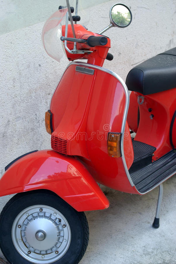 Old scooter. Close up of old scooter royalty free stock photo