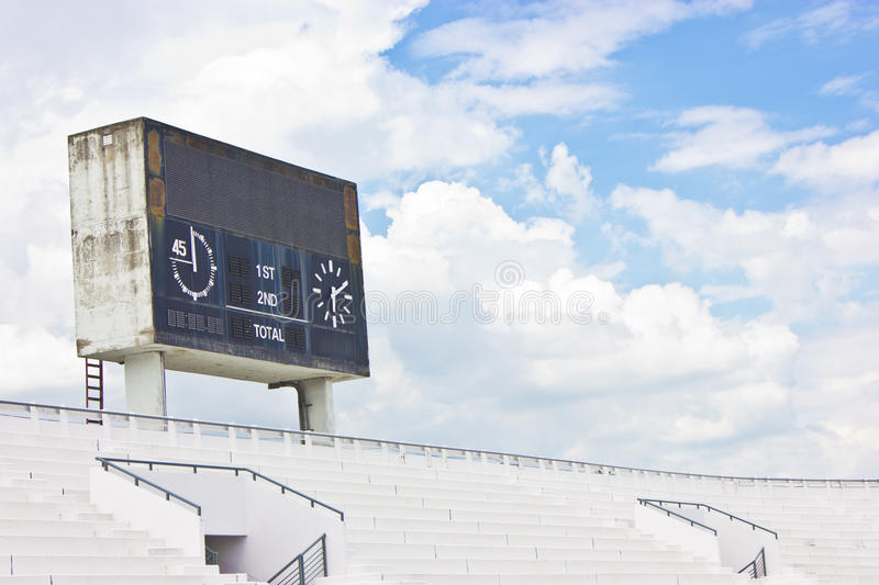 Old Scoreboard And Bleacher. royalty free stock photo