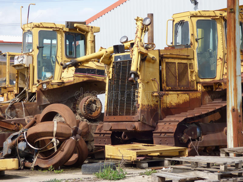 Old scrap bulldozer stock photos