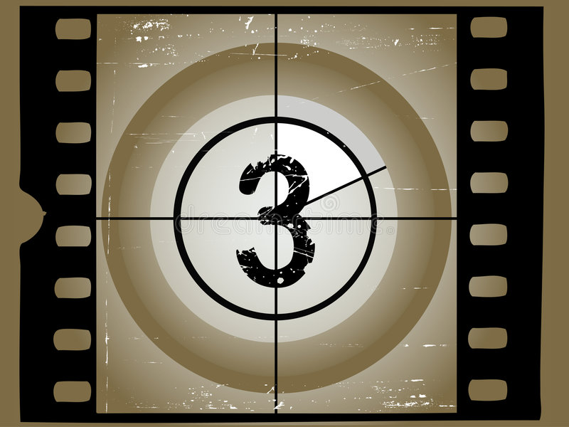 Old Scratched Film Countdown 3 stock illustration