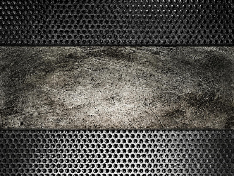 Old scratched metal plate on the background grid. Image Old scratched metal plate on the background grid royalty free stock images