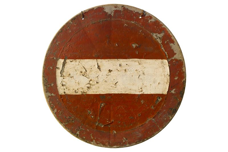 Old scratched round red road sign `Do not enter` isolated on whi. Te stock photos