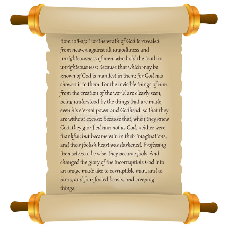 Old scroll with Bible text. Parchment realistic. Vintage blank paper scroll isolated on white background. Vector illustration. stock illustration