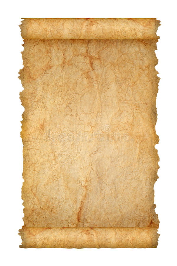 Old scroll. Of brown dirty paper with broken edges isolated on white background stock photography
