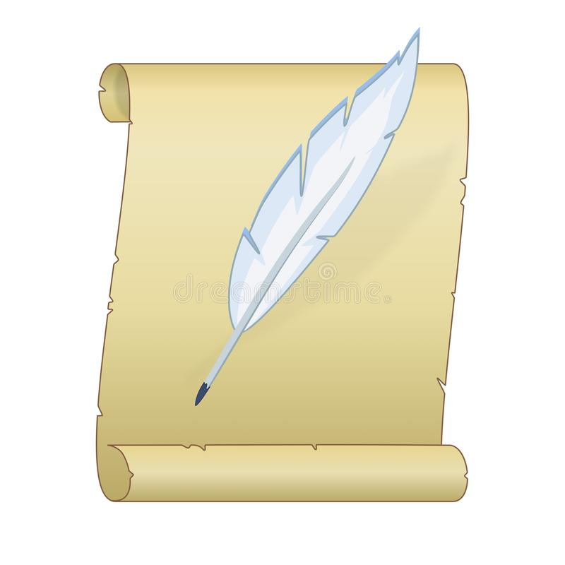 Old scroll with a feather royalty free stock photo