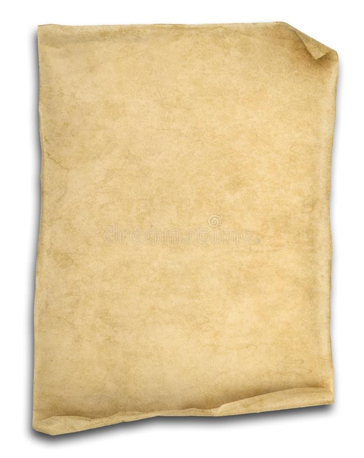 Old scroll paper isolated on white royalty free stock photos