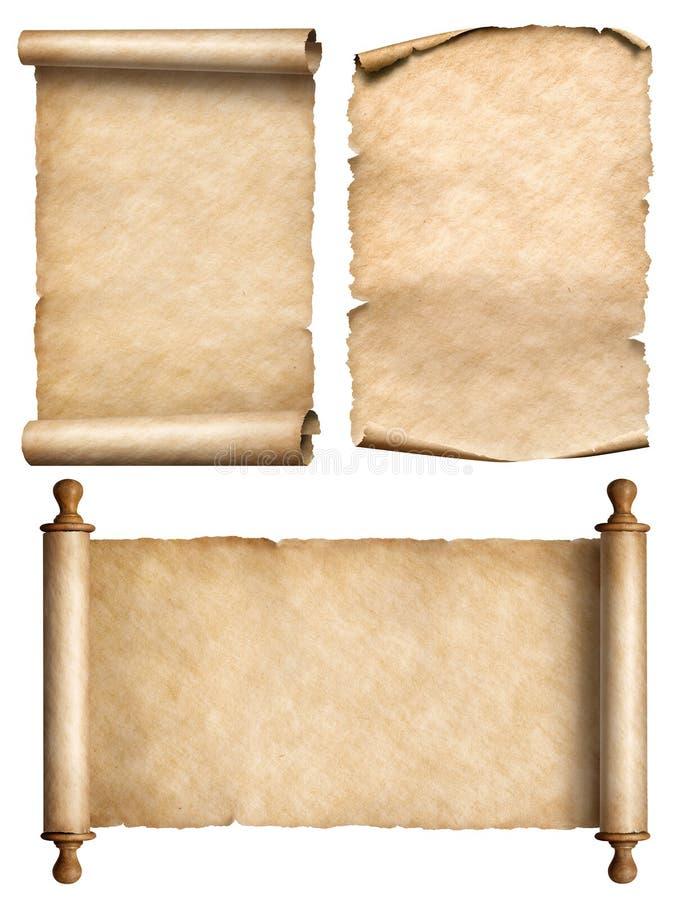 3d Scroll Of Parchment Photo: Old Scroll, Parchment, Papyrus Vintage 3d Illustration Set