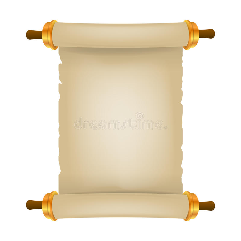 Old scroll with place for text. Parchment realistic. Vintage blank paper scroll royalty free illustration