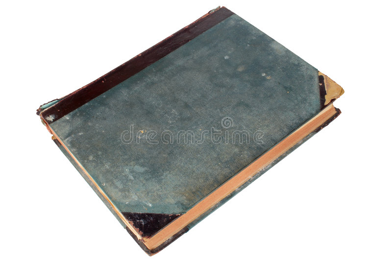 An old scruffy book. With a blank blue cover stock images