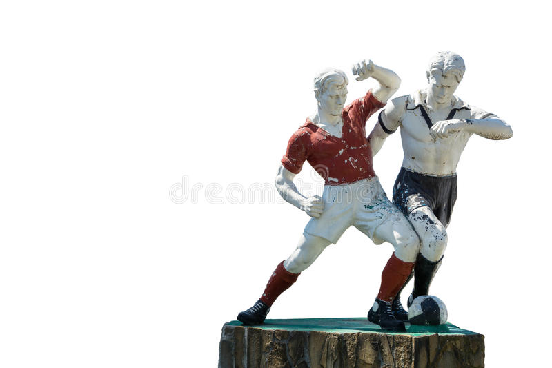 Old sculpture of two football players on a white background. Old sculpture of two football players on a white background, Gagra, Abkhazia royalty free stock photo