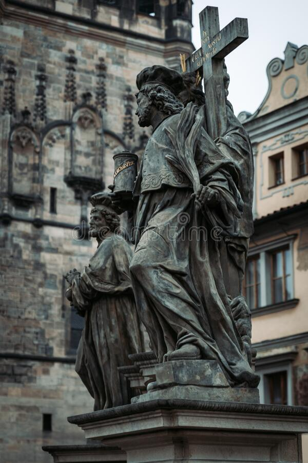 Old sculptures in Prague old town, Czech Republic. Old sculptures dramatic view in Prague old town, Czech Republic royalty free stock photos