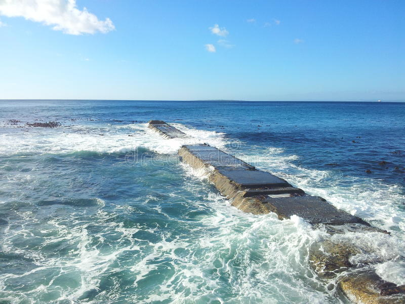 Old sea jetty in Cape Town royalty free stock photo