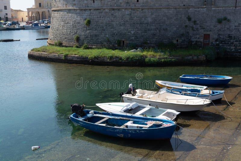 Old sea port of Gallipoli, Apulia, Italy, famous vacation destination with beatiful white sand beaches stock photo