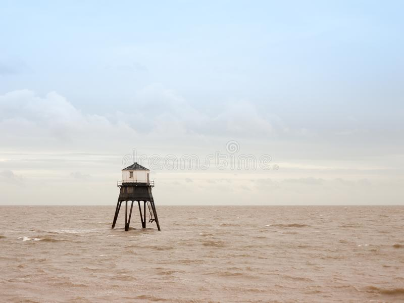 Old sea structure light house Harwich sea bay beach stock images