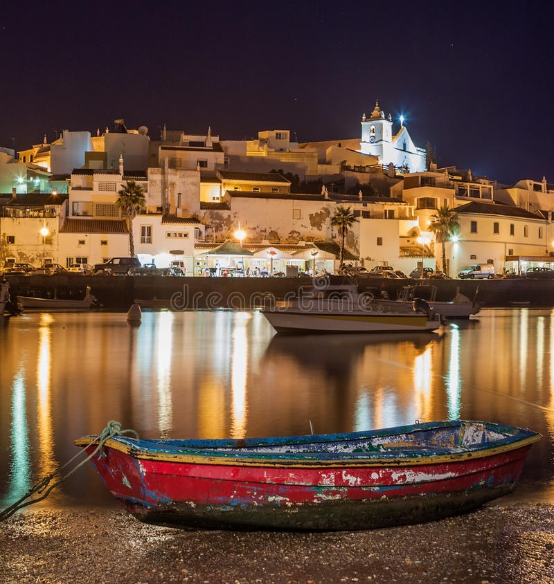 Download Old Sea Town Of Ferragudo In Lights At Night. Stock Image - Image of church, architecture: 46303301