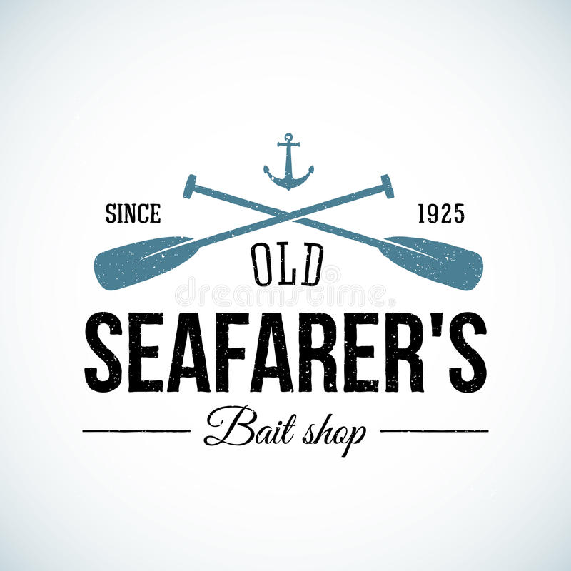 Old Seafarers Bait Shop Vintage Vector Logo stock illustration