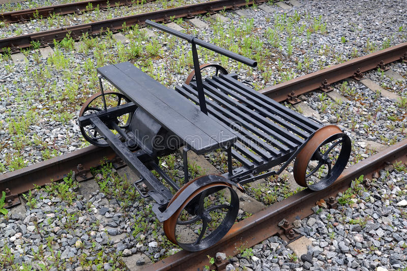 The old section car rocking chair costs on rails.  stock image