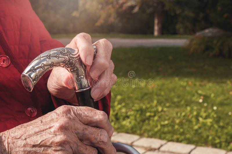 Old senior hands holding walking stick royalty free stock images