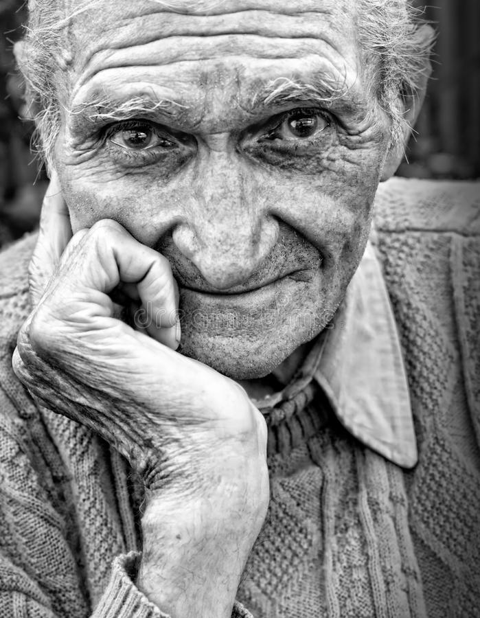 Free Old Senior Man With Wrinkled Face Stock Photo - 21919600
