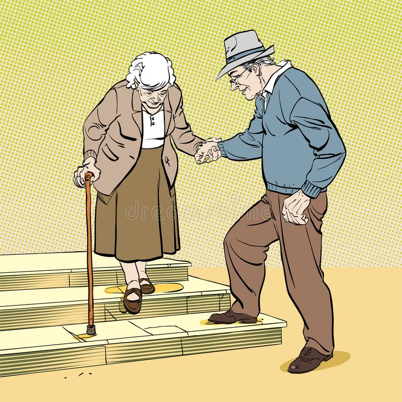 Old senior man and woman in glasses walking together arm in arm. Aged grey haired couple. royalty free illustration