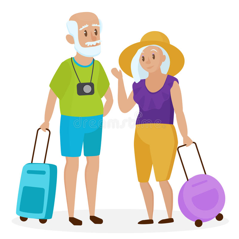 Old Senior people tourists with suitcases. Happy grandparents travelers. Grandpa and grandma. Elderly couple traveling vector illustration