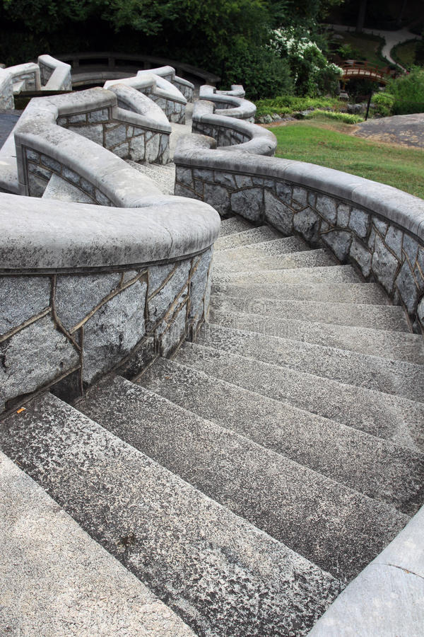 An old serpentine stone staircase in the garden. An old serpentine stone staircase, Maymont park, Richmond, Virginia stock image