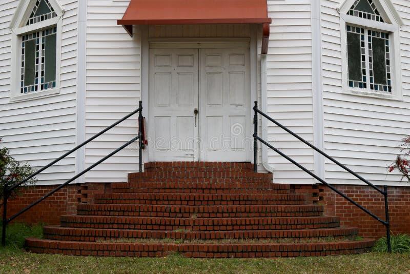 Old southern church doors brick steps stock photos