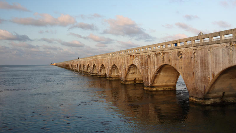 Old Seven Mile Bridge in Florida Keys. Over the sea stock photography