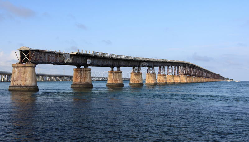 Old Seven Mile Bridge in Florida Keys. Over the sea royalty free stock images