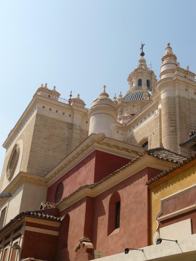 Old Sevilla's cathedral. Spanish baroque church in Sevilla, Andalucia royalty free stock photos