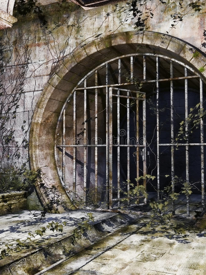 Old Sewer Entrance Stock Illustration. Illustration Of